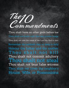 """10 Commandments Art - 11X14 - Instant Download - Digital Artwork by mormonlinkshop  5.00 USD  Let the commandments of God inspire others. Hang this now! """"For this is the love of God that we keep his commandments. And his commandments are not burdensome"""" - 1 John 5:3 INCLUDED IN THIS LISTING: This listing includes the 10 Commandments art image shown above in (8) different color schemes (use the same chalkboard background for all versions and just change the color of the words) - Blue Red…"""