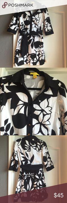 Catherine Malandrino floral black&white shirtdress Fun casual dress. 100% cotton. Button up half way. Catherine Malandrino Dresses