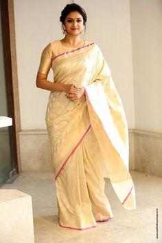 Keerthy Suresh at Pandem Kodi 2 Trailer Launch - South Indian Actress Kerala Saree Blouse Designs, Saree Blouse Patterns, Blouse Neck Designs, Indian Dresses, Indian Outfits, Indian Clothes, Sari Bluse, Indische Sarees, Formal Saree