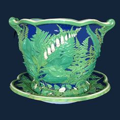 OUTSTANDING... Minton Foxglove Jardiniere And Stand... Majolica