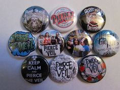 Pierce The Veil PTV Pinback Button Badge Pin    Each button is one inch across. See the last picture for size.    Pack of 10 (ten) 1 inch Pin Back