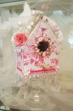 Bird Houses Painted, Decorative Bird Houses, Glitter Houses, Santas Workshop, Bottle Brush Trees, Bird Tree, Button Crafts, Vintage Valentines, Fabric Covered