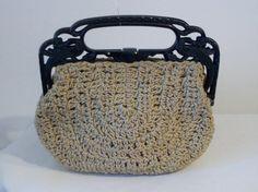 Charming 1930s hand crochet bag on ornate carved by ukcharmvintage