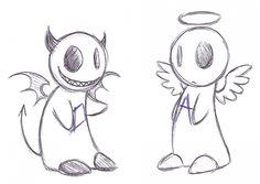 randomly came by a cute angel and devil illustration. Creepy Drawings, Dark Art Drawings, Art Drawings Sketches Simple, Pencil Art Drawings, Cartoon Drawings, Cartoon Art, Cute Drawings, Wallpaper Bonitos, Dessin Old School