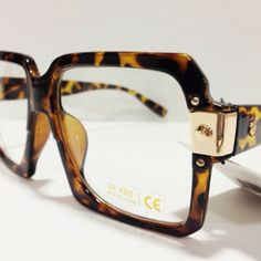 8b5c4fd565d0 Tortoise Shell with Gold Piece Rectangle Clear Nerd Glasses