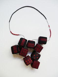 """shapes"" neckpiece, print on pvc fabric ""Sequences"" colllections Eleni Kyrmizaki Gallery Marneri"