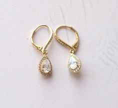 Gold Teardrop Swarovski crystal Earrings by LottieDaDesigns