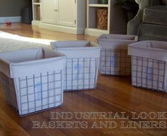 Easy DIY liners for wire baskets. Restoration Hardware Inspired Industrial Baskets with Fabric Liners Industrial Baskets, Metal Baskets, Metal Bins, Industrial Storage, Industrial Style, Industrial Design, Diy Toy Storage, Storage Baskets, Storage Ideas