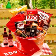 Men - Gift Basket Idea - Bucket, Barbeque Sauces and Rubs, Barbeque Chips