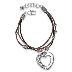 Brighton Barbados Heart Bracelet.  We love the mix of leather and metal!