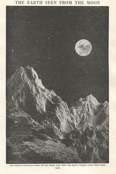 awesome vintage astronomy print view from moon Earth Moon outer space illustration. $10....