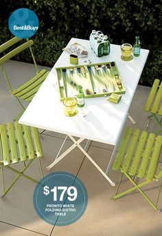 Pronto Large White Folding Bistro Table I Crate and Barrel. PATIO!!!