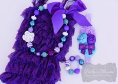 Turquoise & Purple Gift Set for Infants and Toddlers - Complete set with Romper Chunky Necklace and Bracelet with coordinating Headband petti romper romper baby romper girls romper photo prop chunky necklace flower headband gift set baby shower purple turquoise purple and turquoise first birthday 23.00 USD baileysblossoms