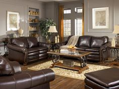 Too dark/////brown leather couch grey walls - Google Search
