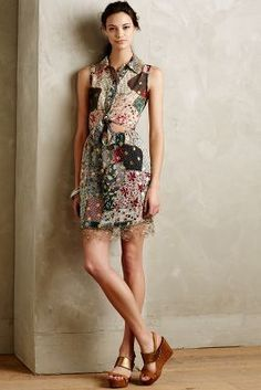 Anna Sui Patchworked Silk Dress