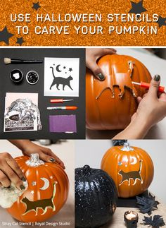 How to use Halloween stencils to carve and decorate a pumpkin using Royal Design Studio DIY holiday party decor stencils