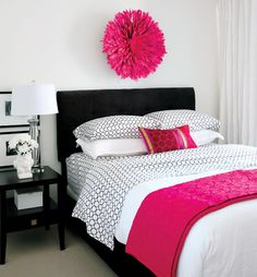 15 beautiful bedrooms - Style At Home Small Master Bedroom, White Bedroom, Dream Bedroom, White Bedding, Fuschia Bedroom, Purple Bed, Neutral Bedding, Pink Bedding, Master Bedrooms