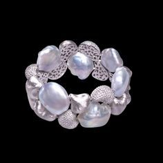 Souffle Pearl & Diamond Gold Bracelet