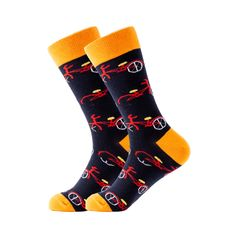 These socks are perfect for the bike rider. Featuring red bikes on a dark blue background with orange trim, our ride of your life bicycle socks will add that extra touch of color to your outfit. Made with 80% Cotton, 17% Nylon, and 3% Spandex, these Unisex socks are perfect for US Size 7.5-12.5 feet. Blue Socks, Dark Blue Background, Bike Rider, Crazy Socks, Sport Socks, Blue Backgrounds, Bicycle, Spandex, Touch