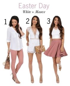 """Easter Day: White + Mauve"" by windsorstore on Polyvore featuring Easter, white and mauve"