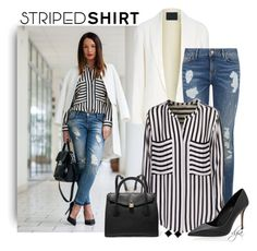 """""""Striped shirt"""" by dgia ❤ liked on Polyvore featuring Alexander Wang, Tommy Hilfiger, iHeart, MICHAEL Michael Kors and White House Black Market"""