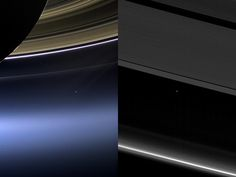 This beautiful shot of Earth as a dot beneath Saturn's rings was taken in 2013 as thousands of humans on Earth waved at the exact moment the spacecraft pointed its cameras at our home world. Then, in 2017, Cassini caught this final view of Earth between Saturn's rings as the spacecraft spiraled in for its Grand Finale at Saturn.