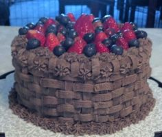 Happy Memorial Day Chocolate Cake filled with Chocolate Ganache infused with Strawberry Jam , topped with Chocolate Ganache, fresh Strawberries and Blueberries glazed with Strawberry Jam Basket Weave Cake, Basket Weaving, Chocolate Heaven, Chocolate Ganache, Blueberries, Strawberries, Cupcake Cakes, Cupcakes, Happy Memorial Day