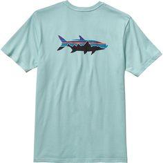 Patagonia Fitz Roy Tarpon T-Shirt - Short-Sleeve ($35) ❤ liked on Polyvore featuring men's fashion, men's clothing, men's shirts, men's t-shirts, men, boy, man, tops, mens long t shirts and mens t shirts