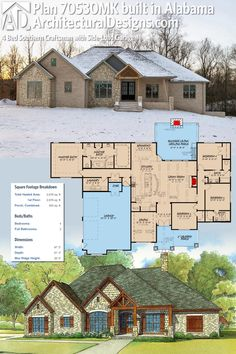 Architectural Designs House Plan 70530MK well underway in Alabama (yes, it snows there occasionally). The home gives you 4 beds, 3 baths and over 2,600 sq. ft. of heated living space. Ready when you are. Where do YOU want to build? #70530MK #adhouseplans