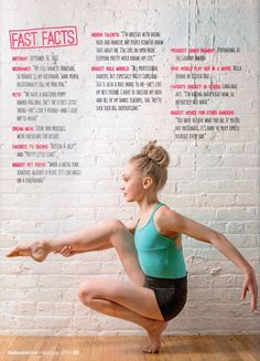 "Maddie Ziegler for Dance Spirt Magazine. ""I'm an open book"" that part made me kinda sad"