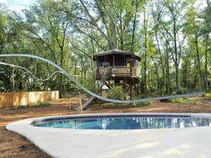 My Yard Goes Disney: Backyard has zip line that twists and turns around the yard!