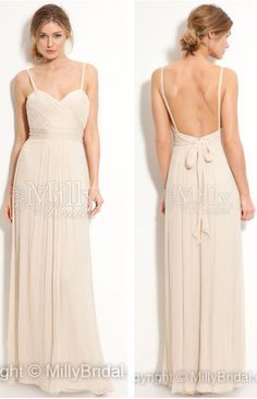 Spaghetti Straps Chiffon Bridesmaid Dress #weddingdress #weddings #fashion