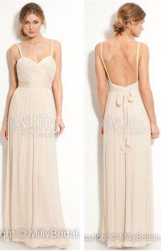 Spaghetti Straps Chiffon Bridesmaid Dress #weddingdress #weddings #fashion