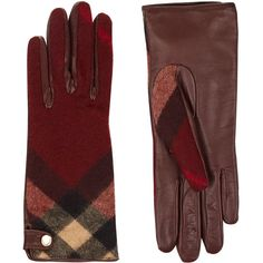 Burberry House Check Cashmere And Leather Gloves ($330) ❤ liked on Polyvore featuring accessories, gloves, leather gloves, burberry, cashmere gloves, golden gloves and real leather gloves