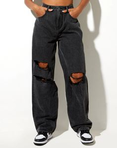 Black Ripped Jeans Outfit, Black Mom Jeans, Mom Jeans Outfit, Sweatpants Outfit, Skinny Jeans, Wide Jeans, Wide Leg Denim, Denim Jeans, Women's Flares