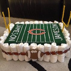A football field. | 31 Diaper Cake Ideas That Are Borderline Genius