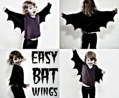 These bat wings are a fun and really easy to make addition to any dress up box. They only took me around ten minutes to whip up with some black lycra fabric I had laying about in m sewing room. Only one seam is required which you can do by hand if you don't have a sewing machine.