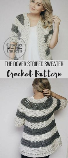 The Dover Striped Women's Cardigan Sweater Crochet Pattern #crochetsweaterpattern #crochetcardigansweater #crochetpattern #affiliate