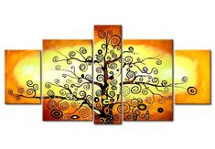 5 Piece Canvas Painting, Tree of Life Painting, Acrylic Abstract Paint – LargePaintingArt.com