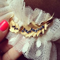 """Bridal Garter Gold Vintage TRIFARI Feather by HOUSEofLOVELY, via Etsy. $42 + FREE SHIPPING """"Something Blue"""""""