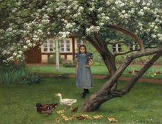 """"""" Patitos en el jardín con árbol florido"""". Hans Andersen Brendekilde (Dinamarca, 1857-1942)."""