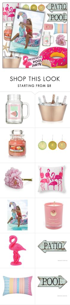 """Soak Up the Sun: Pool Party"" by goldenpixiedust ❤ liked on Polyvore featuring interior, interiors, interior design, home, home decor, interior decorating, Crate and Barrel, Yankee Candle, Temerity Jones and Grandin Road"