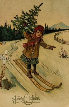 *SKIER W/ CHRISTMAS TREE ~  by The Texas Collection, Baylor University, via Flickr