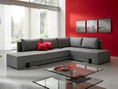 Sala rojo-gris