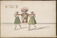 Entrée du Roi à Atabalipa, Enter King Atabalipa (last emperor of the Incan empire.) Ballet de la Douairière de Billebahaut in 1626. Daniel Rabel designed the costumes for this ballet.