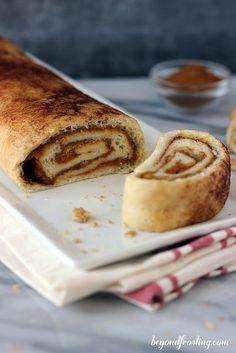 Pumpkin Pie Roll...A dessert roll loaded with cinnamon, sugar and pumpkin pie filling.