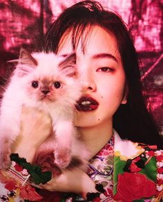 Project Monarch, a cat, gorgeous lipstick, what's not to love? Aesthetic People, Red Aesthetic, Japanese Models, Japanese Girl, Portrait Photography, Fashion Photography, Color Photography, Nana Komatsu, Japanese Lifestyle