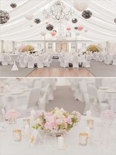 White tent wedding ideas at WeddingChicks! Use some of these great wedding reception ideas for your own.