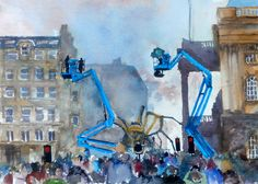 A watercolour painting depicting the arrival of The Spider outside Liverpool's Town Hall. The giant creature was surrounded by smoke and mist and filled the place with the magic of spectacle and theatre.