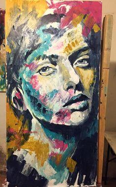 """""""Retrato rosa I"""" Mixta sobre madera 120x62 cm 2015"""